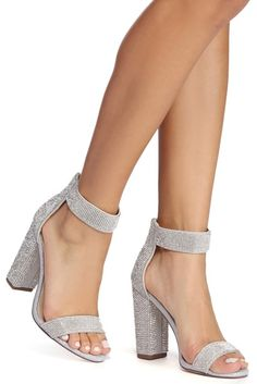 484d7dffcf Because fabulous is your middle name! These silver rhinestone block heels  feature a single strap