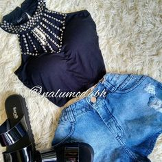 • INSPIRAÇÃO • Cropped bordado + Shorts jeans  #look #lookinspiracao #tendencia #moda #fashion ...