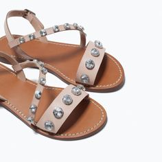 ZARA - WOMAN - JEWELLED LEATHER SANDALS