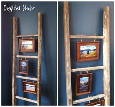 pictures hanging from the rungs of the ladder