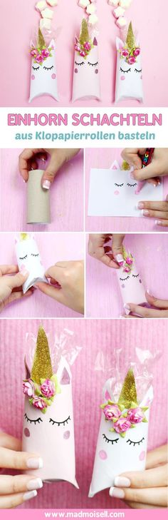 Einhorn Schachtel aus Klopapierrollen falten – Schnelle DIY Geschenkverpackung… Unicorn box made of toilet paper rolls – Fast DIY gift wrapping! These boxes are really lightning self made and I think the idea with the toilet paper rolls totally great. Diy And Crafts, Crafts For Kids, Paper Crafts, Creative Crafts, Toilet Paper Roll Diy, Toilet Roll Craft, Diy Paper Bag, Unicorn Crafts, Unicorn Birthday Parties