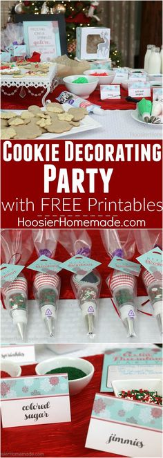 I LOVE this! Host a Cookie Decorating Party for friends and family! Complete with cookies, icing, sprinkles and FUN! Send your guests home with a Mini Decorating Kit Party Favor too! AND the Cookie Decorating Party Printables are FREE!