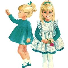 McCalls 8461 1960s Helen Lee Toddlers Dress and Pinafore Pattern Girls Vintage…