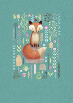 Fox Art Print on Teal Background by Zorro.
