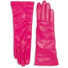 Saks Fifth Avenue Collection Women's Cashmere-Lined Leather Gloves ($105) ❤ liked on Polyvore featuring accessories, gloves, bright pink, real leather gloves and leather gloves