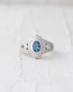 Art Deco Inspired Palladium Bezel Set AAA Aquamarine and Conflict Free Diamond Halo Engagement Ring