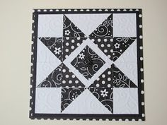 handmade quilt card  from Crafting 4 Fun ... black and white ... start design ... 4X4 block ...