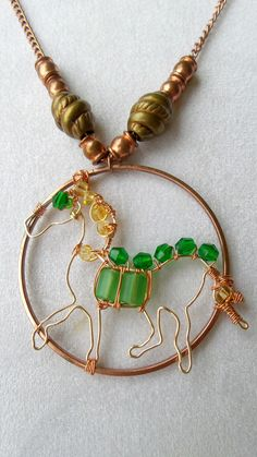 Copper Horse Necklace Beaded Wire Wrapped by SteampunkEarthstones