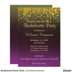 Bachelorette Party   Gold and Purple Card