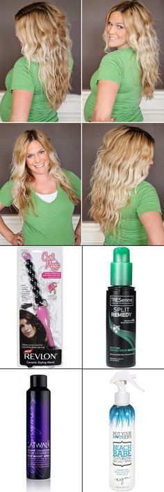 Today I made it my mission to make my straight/fine hair become beachy hair.  I found all of these products and Walmart, so budget conscious and it actually worked! I used the split ends on wet hair, then sprayed the root boost through my whole hair for texture. Then used the wonky curling iron for messy curls, in smaller pieces, and finished with the beach babe spray, scrunch and done.  BOOM!