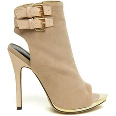 Peep These Cut-Out Stiletto Booties NUDE ($27) ❤ liked on Polyvore featuring shoes, boots, ankle booties, tan, peep toe ankle booties, peep-toe booties, peep toe boots, mid heel booties and cutout booties