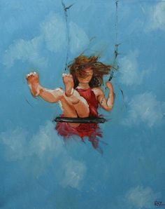 Print Swing 31 11x14 inch Print from oil painting by Roz