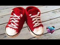 Baskets Converse au crochet (Taille naissance à 12 mois) Partie 1/2 TUTO pour débutants - YouTube
