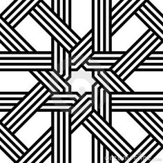 Vector seamless geometric arabesque background pattern in black and white.
