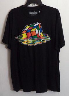 Melting Rubik's Cube Men's Black Short Sleeve T-Shirt Size XL #RippleJunction #GraphicTee