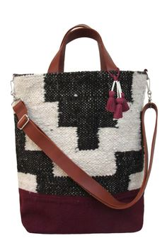 Bag with Heavy Woven Top, Canvas Bottom, Leather Straps
