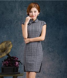 plaid sexy cheongsam dress free shipping 2015 vintage chinese traditional dress wholesale cheap price