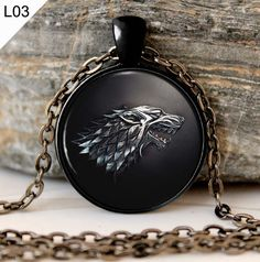 Game of Thrones Necklace Pendant House of Stark Black Wolf Jewelry Gothic…