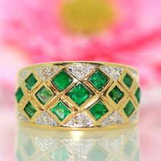 14k Yellow gold Natural Colombian Emerald & Diamond Cluster ring band 1.59ctw by crystalanchor on Etsy