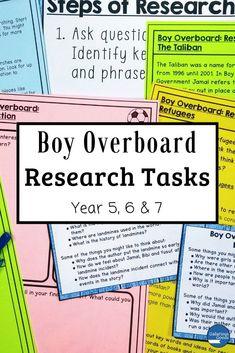 Boy Overboard Novel Study: Research Tasks Teaching Activities, Teaching Strategies, Teaching Ideas, Morris Gleitzman, Maths Investigations, Australian Authors, Year 7, Organisers, Readers Workshop