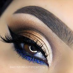 ✨Pop of Glitter✨ _____________________  Products Used:  BROWS: @anastasiabeverlyhills dipbrow in Ebony.  ___  CREASE: Anastasia Beverly Hills single eyeshadow in Orange soda, ABH artist palette color Blue Velvet.  ___  LID: @dressyourface Tamanna Palette colors Glided & Noir. Abh artist palette color Beigely  ___  GLITTER: @starcrushedminerals glitter in Midnight Jemz  ___  EYELINER: @nyxcosmetics matte liquid liner. Jordana Cosmetics Navy eyeliner.  ___  MASCARA: @tartecosmetics Lights…