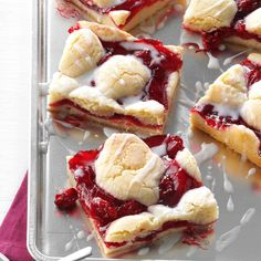 Cherry Bars Recipe -Whip up a pan of these festive bars in just 20 minutes with staple ingredients and pie filling. Between the easy preparation and pretty color, they're destined to become a holiday classic. —Jane Kamp, Grand Rapids, Michigan Potluck Desserts, Cherry Desserts, Cherry Recipes, Potluck Recipes, Köstliche Desserts, Delicious Desserts, Dessert Recipes, Bar Recipes, Light Desserts