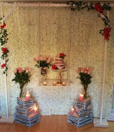 Just love this cake display setup we designed and styled. Semi naked cake with fresh roses on our came swing. Birthday cake display
