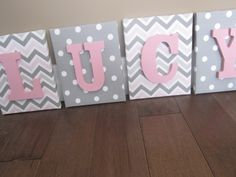 Wall Canvas Letters, Nursery Decor, Nursery Letters, Wooden Letters, Personalized, Nursery Art, Pink, Grey and White Chevron by NurseryShoppe on Etsy https://www.etsy.com/listing/173909070/wall-canvas-letters-nursery-decor