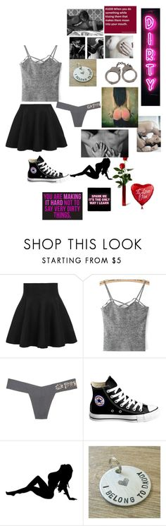 """""""#1MonthTomorrow #Sexy #UareSoGonnaGetIt"""" by serial-killer-girl13 ❤ liked on Polyvore featuring beauty, WithChic, Victoria's Secret and Converse"""