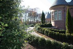 Formal Landscape in Bergen County NJ : This unique formal landscape located in Mahwah , Bergen County , NJ  incorporates specimen plantings of Buxus sempervirens (american boxwood), Ilex opaca (american holly) and Thuja occidentalis Emerald Green (emerald green arborvitae).