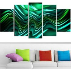 Design Art Emerald Energy Green Abstract Canvas, 5 Panels, 60 inch x 32 inch, Size: Oversized 41 inch+