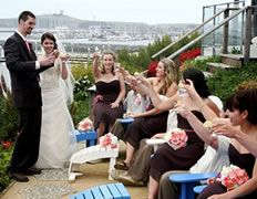 Have your guests relax in colorful Adirondack chairs for a casual, cocktail reception after your oceanfront ceremony at Sam's Chowder House