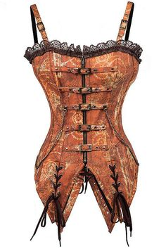 413f04aa106 Get the edgy look with a feminine lace touch with our Atomic Brown Steel  Boned Steampunk
