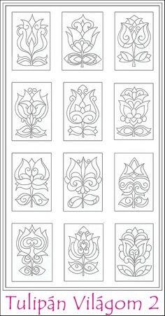 Tulipán Világom 2 színező lapok - nyomtatható, Képzőművészet , Magyar motívumokkal, Rajz, Grafika, Meska