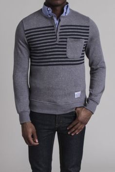 Marled French Terry Pocket Henley; this has clean lines and an interesting pattern-- classy casual.