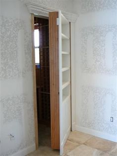 reeeeally like the secret door idea for our closets!  Front coat closet.