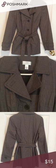 Brown Anne Taylor Loft rain jacket size small Great condition brown with white lines small check print and lined. LOFT Jackets & Coats Trench Coats