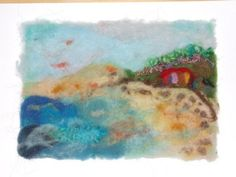 Felted Wool Picture  Living on the Peninsula by realfaery on Etsy, $45.00