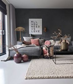 in Ihrem Interieur - . - Farbe in Ihrem Interieur - . -Farbe in Ihrem Interieur - . - living room decor, home design Marvelous Bedroom Decoration Ideas comfortable and warm living room ideas you will definitely like 18 Living Room Trends, Living Room Colors, Cozy Living Rooms, Home Living Room, Interior Design Living Room, Living Room Designs, Color Interior, Living Room Decor Grey Sofa, Interior Rugs