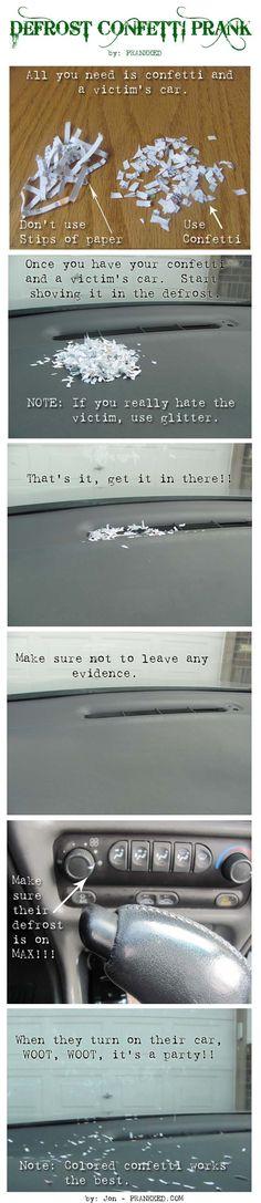 confetti defrost car prank! Fun to do on someone's birthday! lol