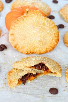 Pumpkin Chocolate Hand Pies well isn't this cute as pie?  :)   Maybe not choc/pumpkin… but I love the idea.