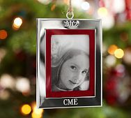 2013 Silver Grosgrain Frame Ornament | Pottery Barn