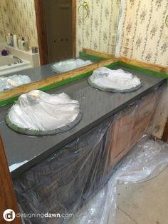 Painting a Bathroom Counter - DesigningDawn.com