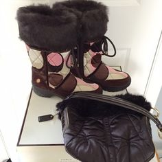 Coach multicolor boots Like brand new monogram Coach boots in satin and suede fabric & rabbit fur trim. Has no signs of wear.  Inner Zipper closure and front tie. I have a matching purse in my closet as well! Coach Shoes Winter & Rain Boots