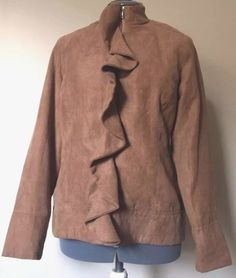 1463eb83a91 Christopher Banks Womens Jacket Tan Lined Ruffle Zip Front Size Small