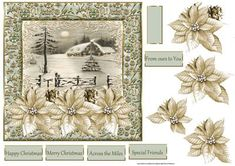 house at christmas card with decoupage on Craftsuprint designed by Angela Wake - house at Christmas card with decoupage and sentiment tags - Now available for download!