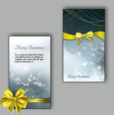 Ornate christmas bow greeting cards vector 06