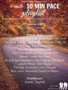 Need a playlist? This playlist is optimized for runners who run a 10-minute mile, looking to run 4 miles. It includes a warm-up and cooldown song as well! Perfect for race training. Get the entire playlist at HeandSheEatClean.com #running #music #playlist #workout #training #marathon #halfmarathon #5k #10k #racemusic