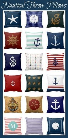 Nautical Throw Pillows for a fun beach or nautical home decor.  #nautical Most are around $36.!!
