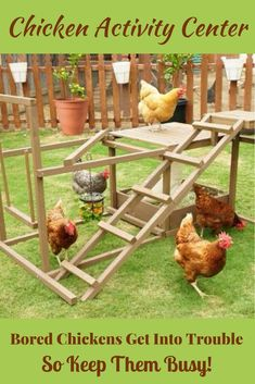 This is such an awesome idea! It's a fun & unique activity center to keep your free-range chickens happy & healthy. When chickens get bored they can start pecking each other. This is a great way to keep your garden pest patrol active & entertained! Portable Chicken Coop, Best Chicken Coop, Backyard Chicken Coops, Building A Chicken Coop, Chickens Backyard, Chicken Toys, Chicken Feed, Keeping Chickens, Raising Chickens